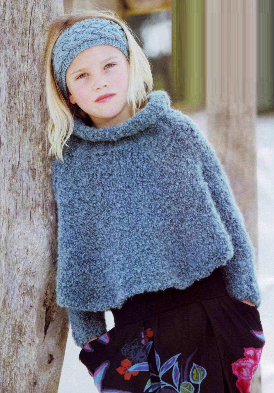 Вязаная повязка на голову для девочки.  Вязаный свитер-пончо для девочки.
